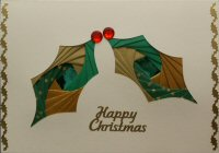 IF1658 Double Holly Leaves, Green & Gold,Happy Christmas,Iris Folding Card Kit (104mm x 148mm)