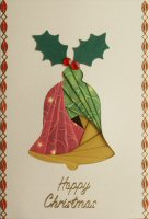 IF1660, Large Bell,Red, Green & Gold, Happy Christmas, Iris Folding Card Kit
