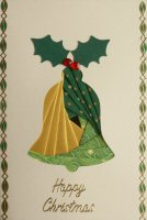 IF1661, Large Bell,Green & Gold, Happy Christmas, Iris Folding Card Kit