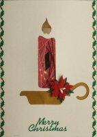 IF1662, Candle & Holder,Red & Gold, Merry Christmas, Iris Folding Card Kit