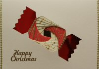 IF1664 Christmas Cracker, Red & Cream,Happy Christmas,Iris Folding Card Kit (104mm x 148mm)