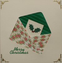 IF1665, Holly Envelope,Green & Cream Poinsettia,Merry Christmas, Iris Folding Card Kit