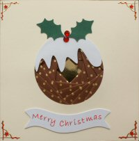 IF1666, Xmas Pudding,Brown & Gold Dots,Merry Christmas, Iris Folding Card Kit