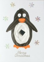 IF1668, Penguin,Merry Christmas, Iris Folding Card Kit