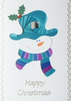 IF1671, Smiley,Purple, Teal & Blue Happy Christmas, Iris Folding Card Kit