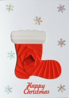 IF1672, Santas Boot,Red & White,Happy Christmas, Iris Folding Card Kit
