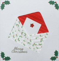 IF1674, Flower Gem Envelope,Red & White Holly,Merry Christmas, Iris Folding Card Kit