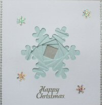 IF1675, Snowflake,Pale Blue Glitter,Happy Christmas,Iris Folding Card Kit