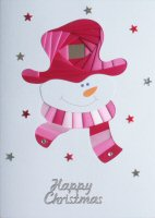 IF1677, Smiley,Pinks On White Card,Happy Christmas, Iris Folding Card Kit