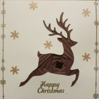 IF1679, Reindeer,Brown & Gold,Happy Christmas, Iris Folding Card Kit