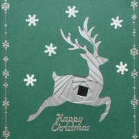 IF1680, Reindeer,Silver On Forest Green Card,Happy Christmas, Iris Folding Card Kit
