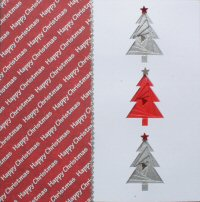 IF1681, Triple Xmas Tree,Red & White ,Happy Christmas, Iris Folding Card Kit