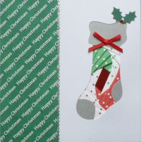 IF1682, Xmas Stocking,Red, Green & White ,Happy Christmas, Iris Folding Card Kit