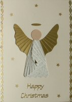 IF1686, Angel,White & Gold,Happy Christmas, Iris Folding Card Kit
