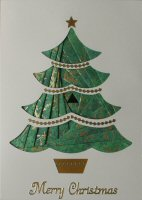 IF1691, 4 Part Xmas Tree,Merry Christmas, Iris Folding Card Kit