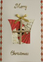 IF1694, Modern Parcel,Red & Cream, Merry Christmas, Iris Folding Card Kit
