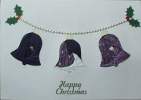 IF1695, Bell Garland , Purple & Grey, Happy Christmas, Iris Folding Card Kit