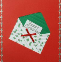 IF1701, Xmas Tree & Green Envelope,On Red Card,Happy Christmas, Iris Folding Card Kit