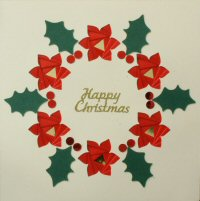 IF1702, Poinsettia Wreath,With Holly & Berries,Happy Christmas,Iris Folding Card Kit