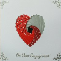 IF1704,Deckled Heart, Red & Silver,On Your Engagement  Iris Folding Card Kit (144mm x 144mm)