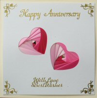 IF1705,Twin Hearts , Pink Ribbon, White Panel ,Happy Aniversary,Iris Folding Card Kit (144mm x 144mm)