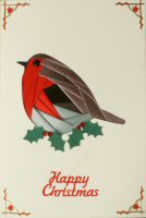 IF1706, Robin & Holly,on Cream Card, Happy Christmas, Iris Folding Card Kit