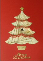 IF1707, 4 Part Xmas Tree ,Cream & Gold Foil, on Red Card, Merry Christmas, Iris Folding Card Kit