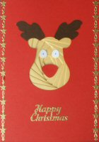 IF1708, Reggie Reindeer,on Red Card,Happy Christmas, Iris Folding Card Kit