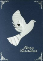 IF1709, Dove,White Ribbon, on Navy Card,Merry Christmas, Iris Folding Card Kit