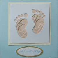 IF1710,Baby Boy Feet, Pink & Silver Glitter,White Panel, Ivory Shadow on Blue Card,It's A Boy Iris Folding Card Kit (144mm x 144mm)