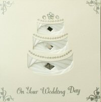 IF1712, Wedding Cake,White on Ivory Card,On Your Wedding Day, Iris Folding Card Kit