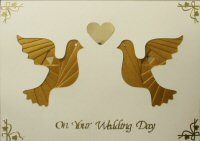 IF1713, Gold Pair of Doves,on Cream Card ,On Your Wedding Day,Iris Folding Card Kit (127mm x 178mm)