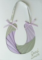 IF1715, Brides Lucky Horseshoe,Lilac & Silver, Good Luck,Iris Folding Card Kit