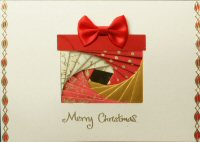 IF1716, Red Lidded Present,Gold, Red & White Foil,On Cream Card,Merry Christmas, Iris Folding Card Kit