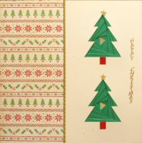 IF1720, Red Lidded Present,Gold, Red & White Foil,On Cream Card,Merry Christmas, Iris Folding Card Kit