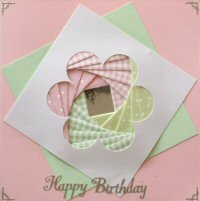 IF1757,Daisy Panel, Pink & Green,Happy Birthday Sqr Iris Folding Card Kit (144mm x 144mm)