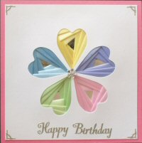 IF1759,Heart Flower, 5 Colour on Dark Pink Card,Happy Birthday, Sqr Iris Folding Card Kit (144mm x 144mm)