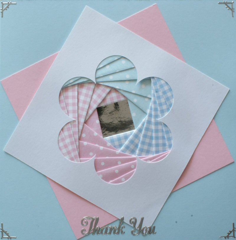 IF1760,Daisy Panel, Pink & Blue on Blue Card,Thank You, Sqr Iris Folding Card Kit (144mm x 144mm)