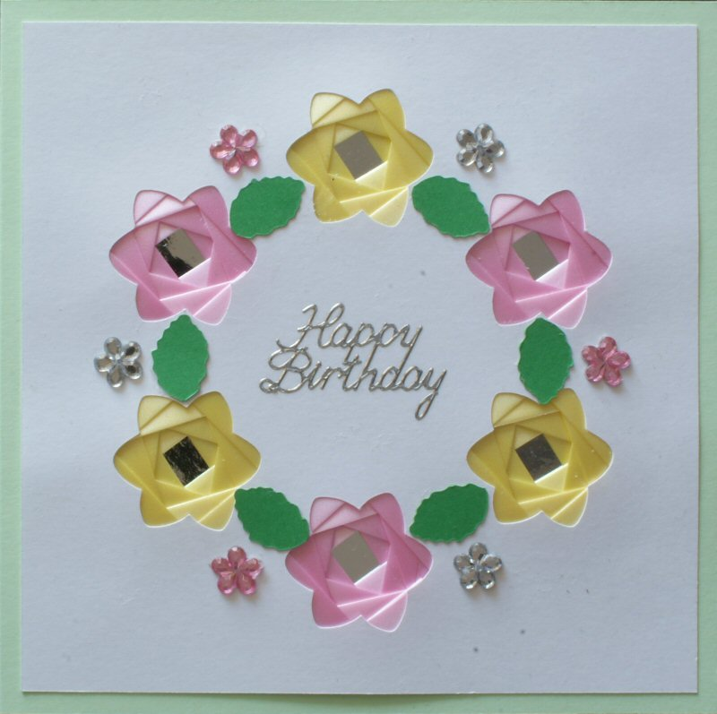 IF1761,Daffodil Wreath, Pink & Yellow on Pale Green,Happy Birthday Sqr Iris Folding Card Kit (144mm x 144mm)
