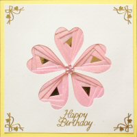 IF1763,Heart Flower, Pink Glitter on Dark Yellow, Sqr Happy Birthday,Iris Folding Card Kit (144mm x 144mm)