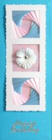 IF1764,Triple Deckled Frame, Pink & Blue on Bright Blue Card,Happy Birthday Sqr Iris Folding Card Kit (144mm x 144mm)