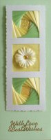 IF1765,Triple Deckled Frame, Green & Yellow on Pale Green,With Love & Best Wishes,Sqr Iris Folding Card Kit (144mm x 144mm)