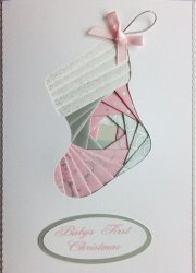 IF1910, Babys First Christmas, Pink,Iris Folding Card Kit (127mm x 178mm)