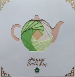 IF1929, Train,Green & Blue,Happy Birthday,Iris Folding Card Kit (104mm x 148mm)