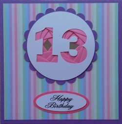 IF1572, Purple Ribbon Strip,Purple & Blue Number, Iris Folding Card Kit