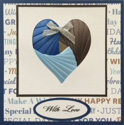 IF2062 White Heart Panel,Blues & Brown on Cobalt Sqr Card,Birthday Paper Backing,With Love,Iris Folding Card Kit (144mm x 144mm)