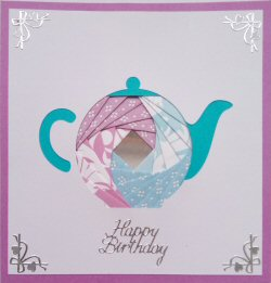 IF2058, triple Heart,Grey & purple,Congratulations,Iris Folding Card Kit (144mm x 144mm)