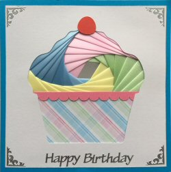 IF2172, Cup Cake,Pink, Blue, Yellow & Green,Bright Blue Card,Happy Birthday,Sqr Iris Folding Card Kit (144mm x 144mm)