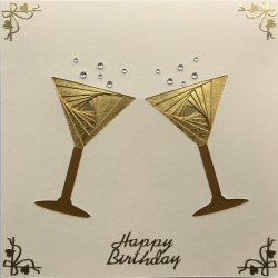 IF2058, Cocktail Glasses,Gold on Cream,Happy Birthday,Sqr Iris Folding Card Kit (144mm x 144mm)