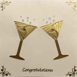 IF2058, Cocktail Glasses,Gold on Cream,Congratulations,Sqr Iris Folding Card Kit (144mm x 144mm)